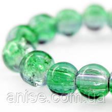 """Бусины """"Битое Стекло"""" Двухцветные, круглые, Цвет: Зеленый, Диаметр: 6мм, Отверстие 1мм, около 140шт/нить, (УТ000004802)"""