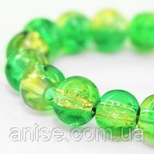"""Бусины """"Битое Стекло"""" Двухцветные, круглые, Цвет: Зеленый, Диаметр: 8мм, Отверстие 1мм, около 105шт/нить, (УТ000007293)"""