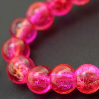 """Бусины """"Битое Стекло"""" Двухцветные, круглые, Цвет: Розовый, Диаметр: 8мм, Отверстие 1мм, около 140шт/нить, (УТ000007299)"""