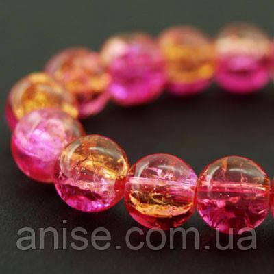 """Бусины """"Битое Стекло"""" Двухцветные, круглые, Цвет: Розовый, Диаметр: 8мм, Отверстие 2мм, около 105шт/нить, (УТ000008006)"""