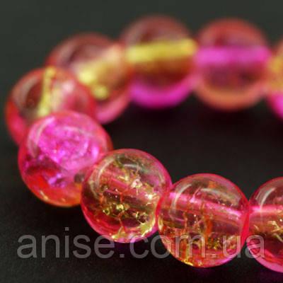 """Бусины """"Битое Стекло"""" Двухцветные, круглые, Цвет: Розовый, Диаметр: 6мм, Отверстие 1мм, около 140шт/нить, (УТ000007283)"""