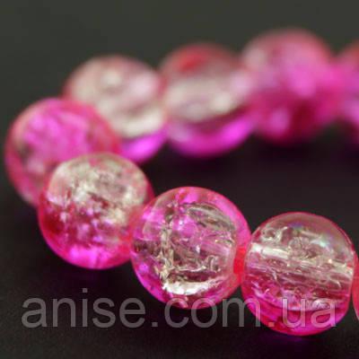 """Бусины """"Битое Стекло"""" Двухцветные, круглые, Цвет: Розовый, Диаметр: 8мм, Отверстие 1мм, около 140шт/нить, (УТ000007294)"""