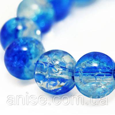 """Бусины """"Битое Стекло"""" Двухцветные, круглые, Цвет: Синий, Диаметр: 8мм, Отверстие 2мм, около 105шт/нить, (УТ000004920)"""