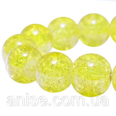 """Намистини """"Бите Скло"""" Круглі, Колір: Жовтий, Діаметр: 10мм, Отвір 2мм, близько 80шт/нитка, (УТ0002840)"""