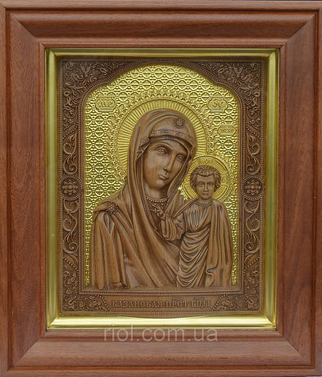 Ікона з дерева Казанської Божої Матері з сусальним золотом