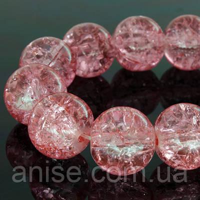 """Бусины """"Битое Стекло"""" Круглые, Цвет: Розовый, Диаметр: 10мм, Отверстие 2мм, около 80шт/нить, (УТ0002553)"""