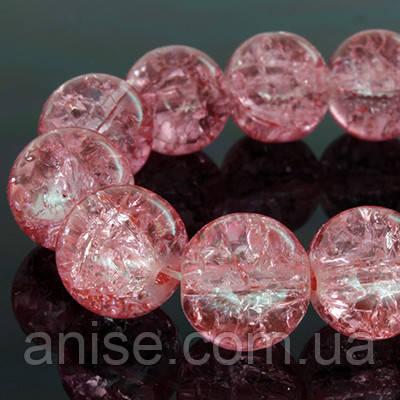 """Бусины """"Битое Стекло"""" Круглые, Цвет: Розовый, Диаметр: 4мм, Отверстие 1мм, около 200шт/нить, (УТ0002782)"""
