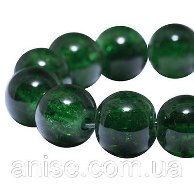 """Бусины """"Битое Стекло"""" Круглые, Цвет: Темно-зеленый, Диаметр: 10мм, Отверстие 2мм, около 80шт/нить, (УТ0005842)"""