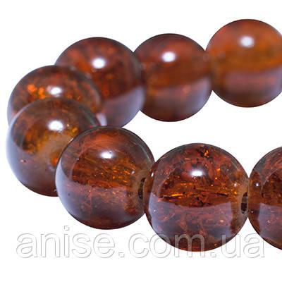 """Бусины """"Битое Стекло"""" Круглые, Цвет: Темно-оранжевый, Диаметр: 10мм, Отверстие 2мм, около 80шт/нить, (УТ0005841)"""