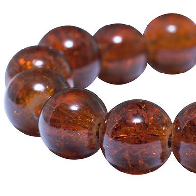 """Намистини """"Бите Скло"""" Круглі, Колір: Темно-оранжевий, Діаметр: 8 мм, Отвір 1мм, близько 105шт/нитка, (УТ0005802)"""
