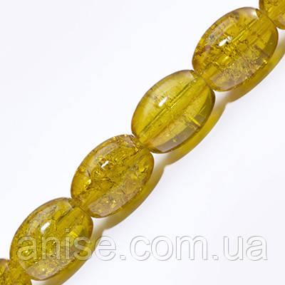 """Бусины """"Битое Стекло"""" Овальные, Цвет: Желтый A33, Размер: 11х8мм, Отверстие 1.5мм, около 70шт/нить, (УТ0027310)"""