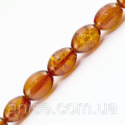 """Бусины """"Битое Стекло"""" Овальные, Цвет: Оранжевый A20, Размер: 8х6мм, Отверстие 1.5мм, около 95шт/нить, (УТ0027405)"""