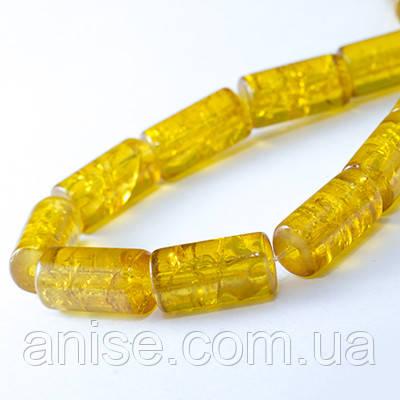 """Бусины """"Битое Стекло"""" Цилиндр, Цвет: Желтый A33, Размер: 12х6мм, Отверстие 1.5мм, около 48шт/нить, (УТ0027352)"""