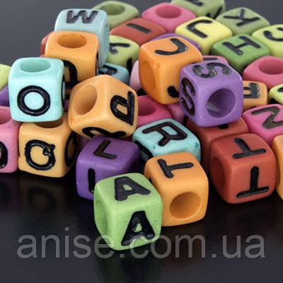 Бусины Акрил Алфавит Микс, Кубики, Цвет: Микс, Размер: 7x7х7мм, Отверстие 4мм, около 100шт/25г, (УТ0002558)