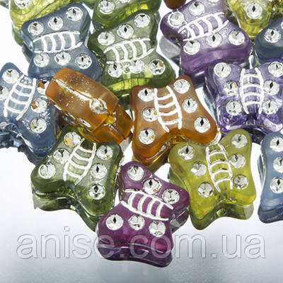 Бусины Акрил Вставки Металла, с Покрытием, Бабочка, Цвет: Микс, Размер: 9х8х4мм, Отверстие 1мм, около 285шт/50г, (УТ0002249)
