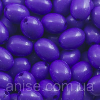 Бусины Акрил Непрозрачные, Овальные, Цвет: Фиолетовый, Размер: 12х9мм, Отверстие 1.5мм, около 80 шт/25г, (УТ0028646)
