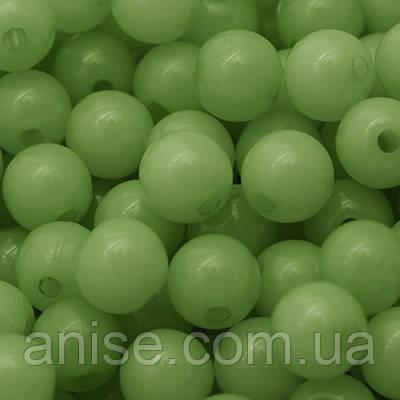 Бусины Акриловые Желейные, Круглые, Цвет: Зеленый, Диаметр: 10мм, Отв-тие 2мм, около 90шт/50г, (УТ0005712)