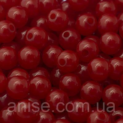 Бусины Акриловые Желейные, Круглые, Цвет: Красный, Диаметр: 6мм, Отв-тие 1.5мм, около 450шт/50г, (УТ0005737)