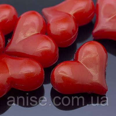 Бусины Акриловые Желейные, Сердце, Цвет: Красный, Размер: 17x22х9.5мм, Отв-тие 2мм, около 26шт/50г, (УТ0005699)