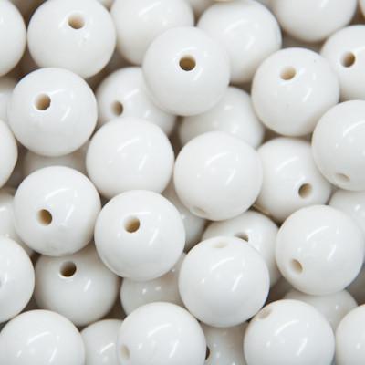 Акрилові намистини Барвисті, Круглі, Колір: Білий, Діаметр: 20 мм, Отвір 3мм, близько 11шт/50г, (УТ000003842)