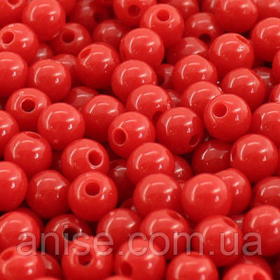 Бусины Акриловые Красочные, Круглые, Цвет: Красный, Диаметр: 8мм, Отверстие 1мм, около 170шт/50г, (УТ000008029)