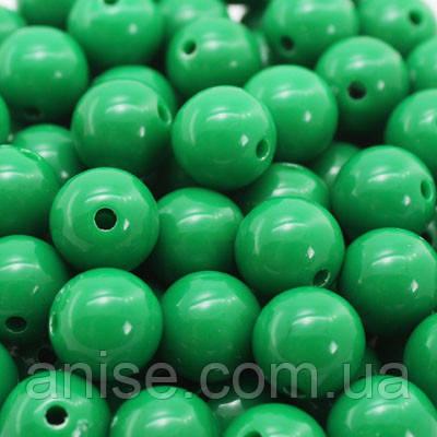 Бусины Акриловые Красочные, Круглые, Цвет: Зеленый, Размер: Диаметр: 12мм, Отверстие 1мм, около 50шт/50г, (УТ0005062)