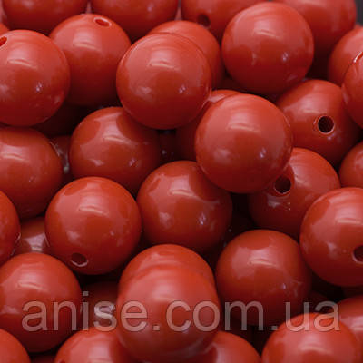 Бусины Акриловые Красочные, Круглые, Цвет: Красный, Диаметр: 12мм, Отверстие 1мм, около 50шт/50г, (УТ0005064)
