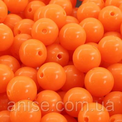Бусины Акриловые Красочные, Круглые, Цвет: Оранжевый, Диаметр: 10мм, Отверстие 1мм, около 90шт/50г, (УТ000007336)