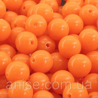 Бусины Акриловые Красочные, Круглые, Цвет: Оранжевый, Диаметр: 12мм, Отверстие 1мм, около 50шт/50г, (УТ0005063)