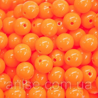Бусины Акриловые Красочные, Круглые, Цвет: Оранжевый, Диаметр: 8мм, Отверстие 1мм, около 170шт/50г, (УТ000007816)