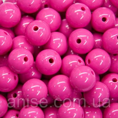 Бусины Акриловые Красочные, Круглые, Цвет: Розовый яркий, Диаметр: 6мм, Отверстие 1мм, около 800шт/100г, (УТ000007012)
