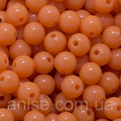 Акрилові намистини Барвисті, Круглі, Колір: Помаранчевий, Діаметр: 6 мм, Отвір 1мм, близько 800шт/100г, (УТ0005070)