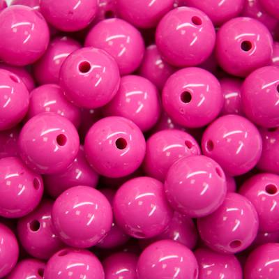Бусины Акриловые Красочные, Круглые, Цвет: Розовый яркий, Диаметр: 8мм, Отверстие 1мм, около 170шт/50г, (УТ000007333)