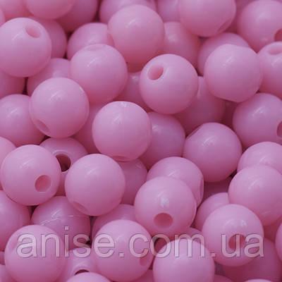 Бусины Акриловые Красочные, Круглые, Цвет: Розовый, Диаметр: 6мм, Отверстие 1мм, около 400шт/50г, (УТ0005071)