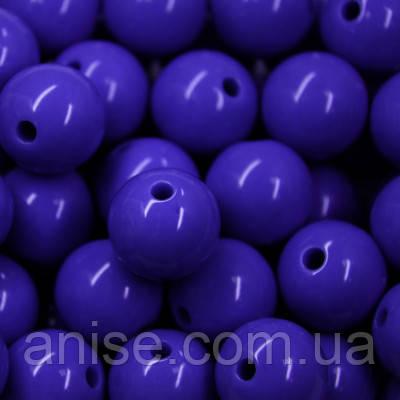 Бусины Акриловые Красочные, Круглые, Цвет: Синий, Диаметр: 12мм, Отверстие 1мм, около 50шт/50г, (БА000000860)