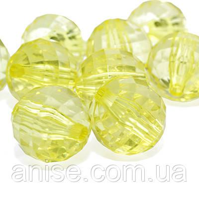 Акрилові намистини Прозорі, Гранчасті, Круглі, Колір: Жовтий, Діаметр: 18 мм, Отвір 3мм, близько 15шт/50г, (УТ0013492)