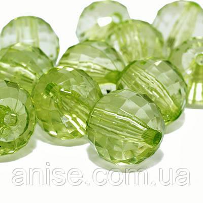 Акрилові намистини Прозорі, Гранчасті, Круглі, Колір: Зелений, Діаметр: 14мм, Отвір 2.5 мм, близько 34шт/50г, (УТ0013497)