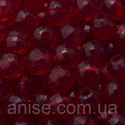 Акрилові намистини Прозорі, Гранчасті, Круглі, Колір: Червоний, Діаметр: 22мм, Отвір 3мм, близько 8шт/50г, (УТ0005613)