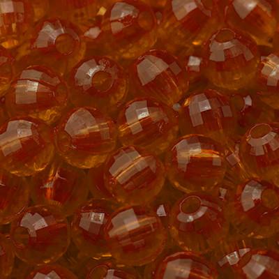Акрилові намистини Прозорі, Гранчасті, Круглі, Колір: Помаранчевий, Діаметр: 12мм, Отвір 2.5 мм, близько 50шт/50г, (УТ0005647)