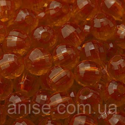 Бусины Акриловые Прозрачные, Граненые, Круглые, Цвет: Оранжевый, Диаметр: 12мм, Отверстие 2.5мм, около 50шт/50г, (УТ0005647)
