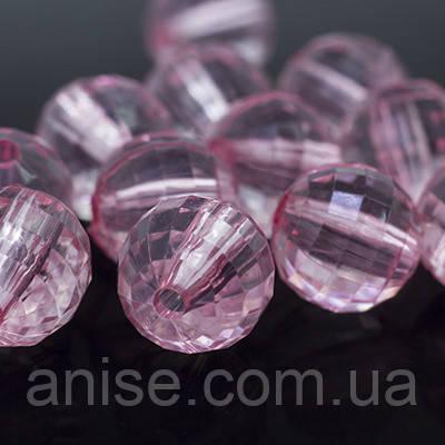Акрилові намистини Прозорі, Гранчасті, Круглі, Колір: Рожевий, Діаметр: 18 мм, Отвір 3мм, близько 15шт/50г, (УТ0005624)