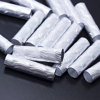 Бусины Алюминиевые, Трубка, Цвет: Серебро, Размер: 29х8мм, Отв-тие: 6.5мм, (УТ0026747)