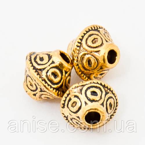 Бусины Биконус Металл, Цвет: Античное Золото, Размер: 7х6мм, Отв-тие 2мм, (БА000001008)