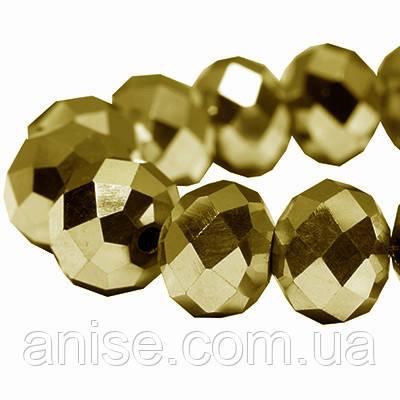 Намистини Гальваніка Скло, з золотистим Покриттям, Гранчасті, Рондель, Колір: Золотистий, Розмір: 6х4мм, Отв-нення 1мм, близько 100шт/нитка, (УТ0005872)