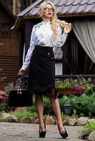 Классическая черная юбка с бахрамой и кожаными вставками 44-50 размеры, фото 1