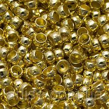 Бусины Зажимные Стопперы, Кримпы, из Латуни, Бочонок, Цвет: Золото, Размер: 2х1.2мм, Отверстие 1мм, 5г/около 400шт (БА000000582)