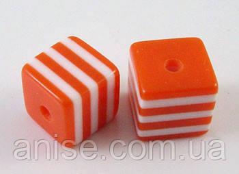 Бусины из Смолы полосатые, Цвет: Оранжевый, Размер: Длина 8мм, Ширина 8мм, Толщина 8мм, Отверстие 1.5мм