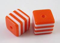 Бусины из Смолы полосатые, Кубики, Цвет: Оранжевый, Размер: Длина 8мм, Ширина 8мм, Толщина 8мм, Отверстие 1.5мм, (БА000000325)