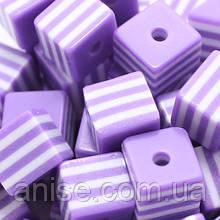 Бусины из Смолы полосатые, Цвет: Фиолетовый, Размер: Длина 8мм, Ширина 8мм, Толщина 8мм, Отверствие 1.5мм