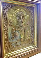 Икона деревянная резная с позолотой Святой Николай Чудотворец